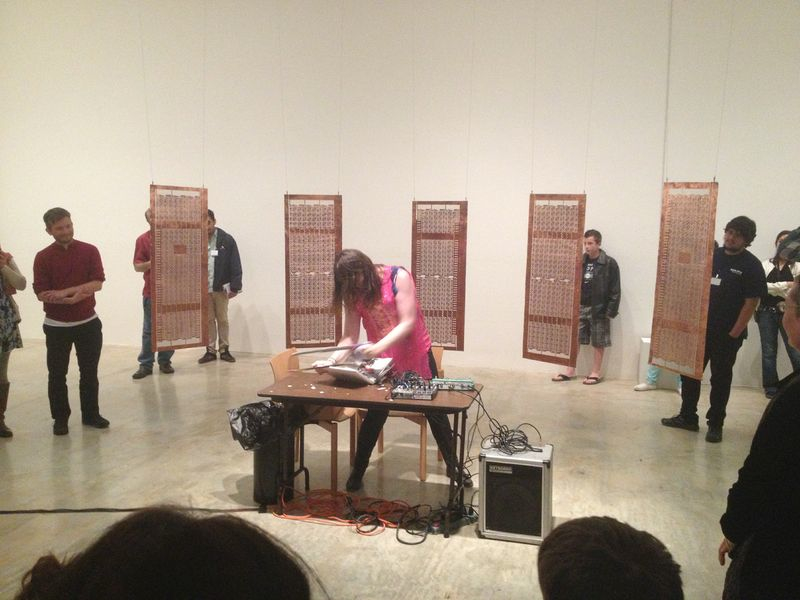 Jess Rowland performing at the Berkeley Art Museum